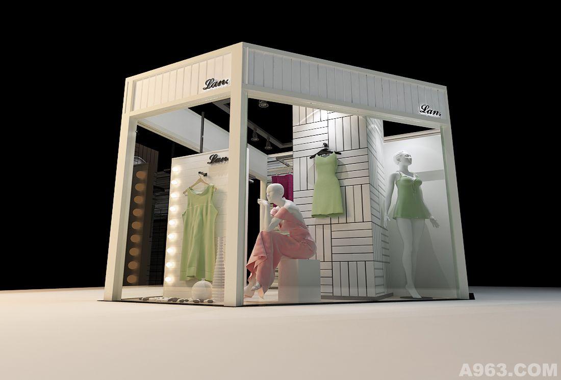 店铺(女装)说明: 此店面为15平米小户型,以经营韩国女装为主,在设计时