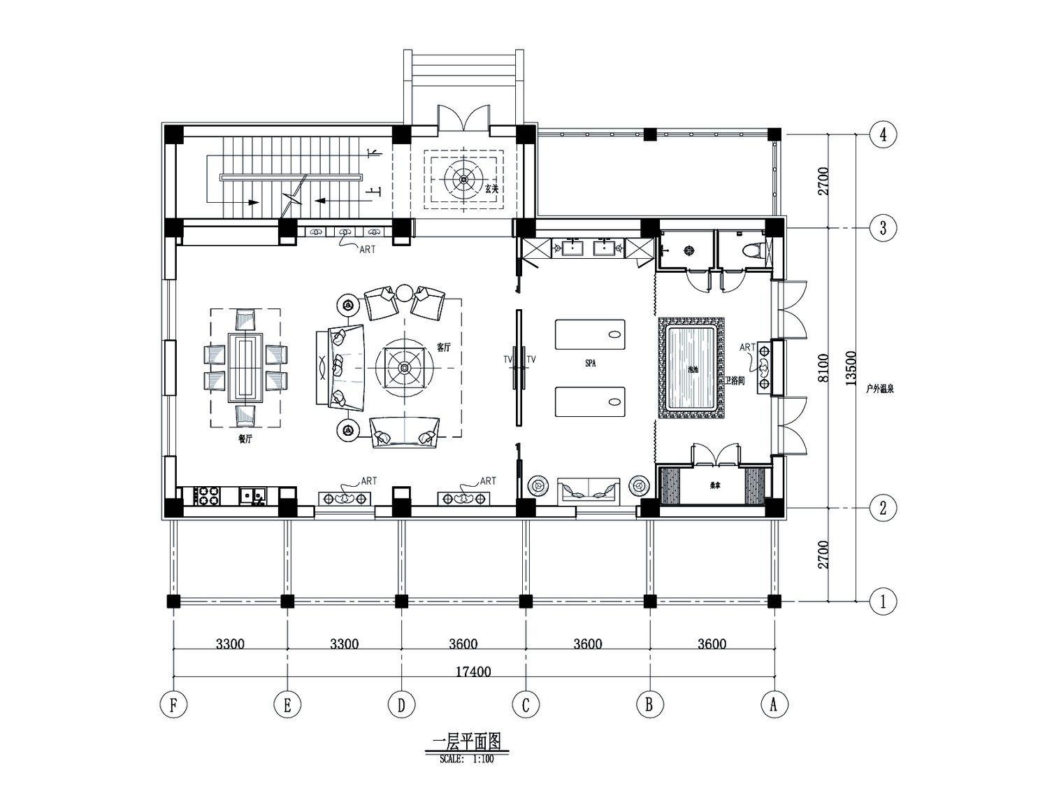 1温泉别墅1f平面(方案二)
