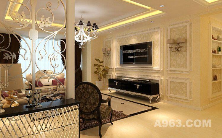 图客厅电视背景墙用淡雅壁纸和石膏线条做的欧式造型,简约精致.