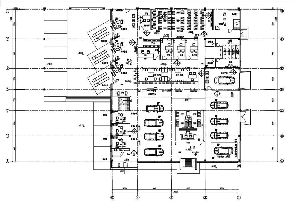抚顺广联达汇通·上海大众斯柯达汽车4S店 一楼平面布置图