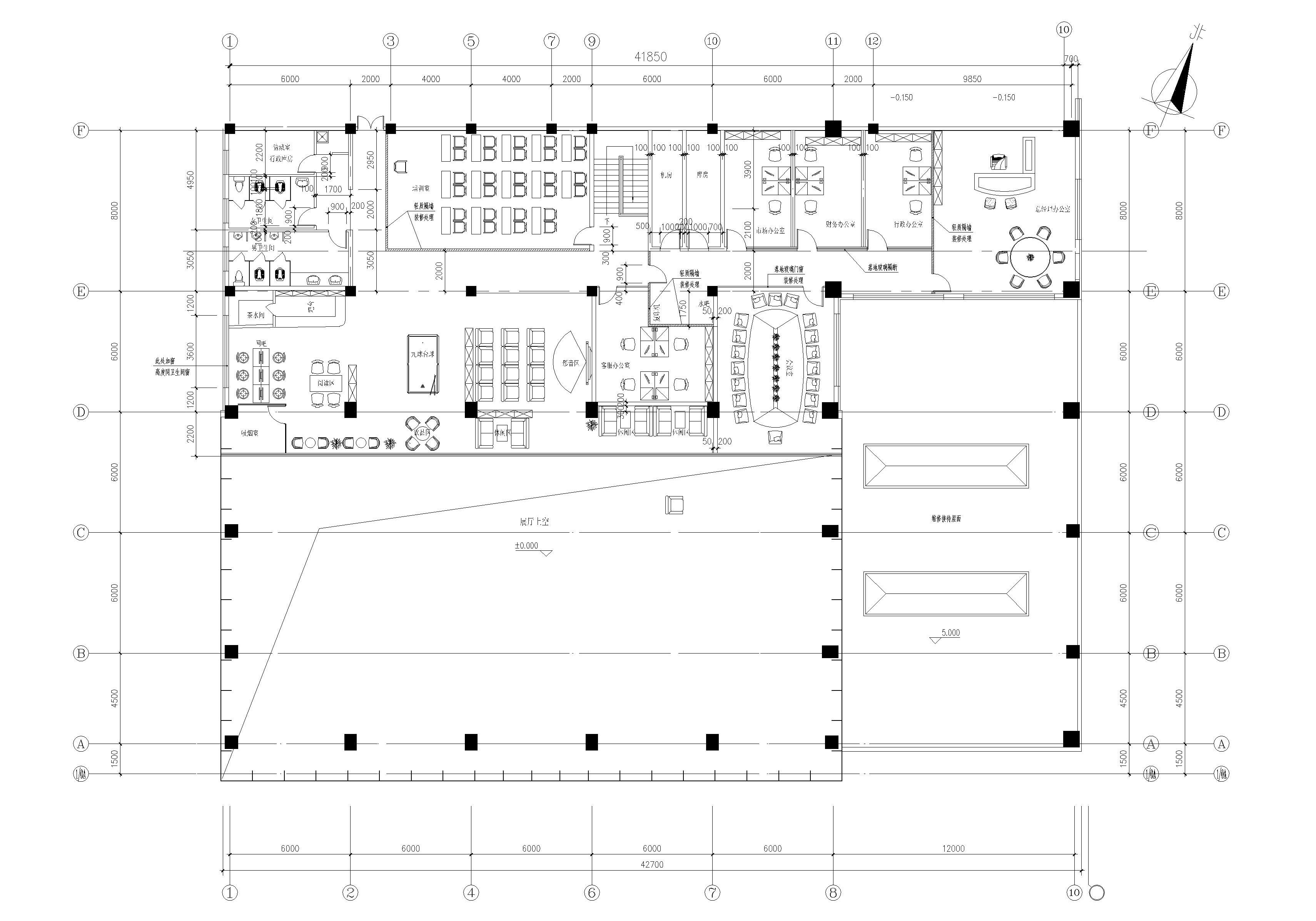 北京现代汽车4s店(抚顺店) 二层平面图